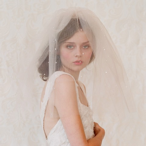 Mariage - Bridal blusher wedding veil - Double layer teardrop veil in champagne, ivory or white - Style 111 - Ready to Ship