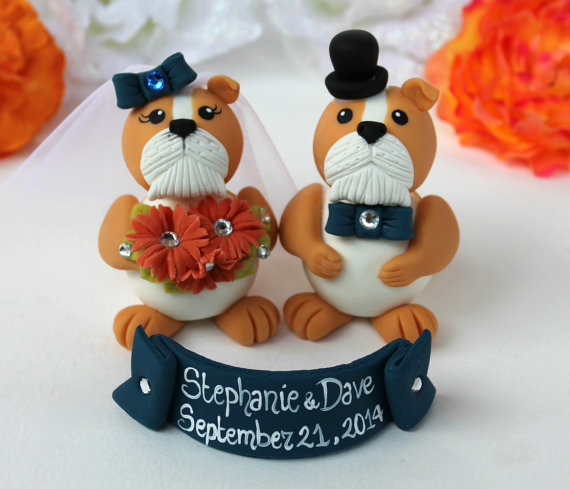 Bulldog Wedding Cake Topper Navy Blue Customizable With Banner