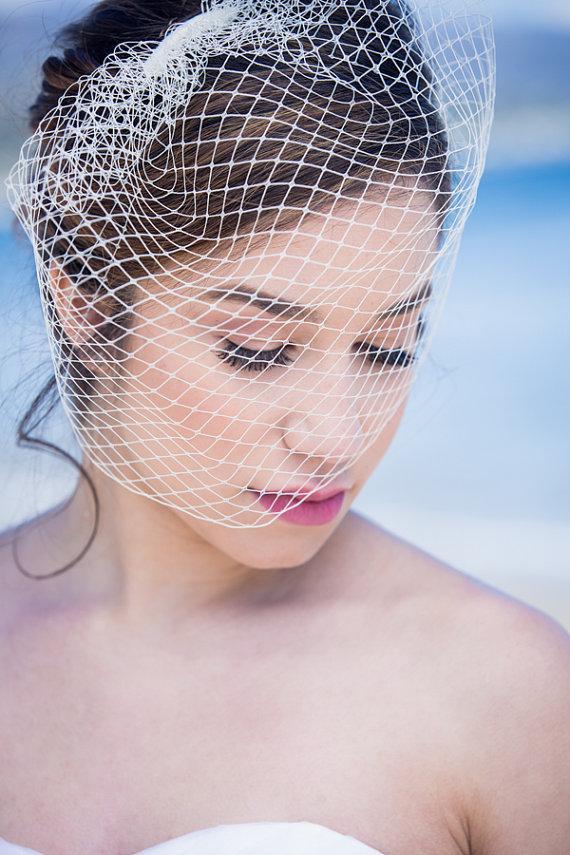 Свадьба - Birdcage Veil, White French veiling, Wedding, Bridal, Headpiece
