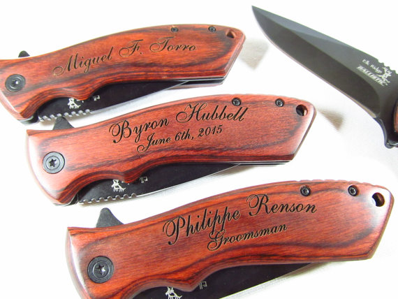 7 Engraved Spring Assist Open Pocket Knife Personalized Groomsman