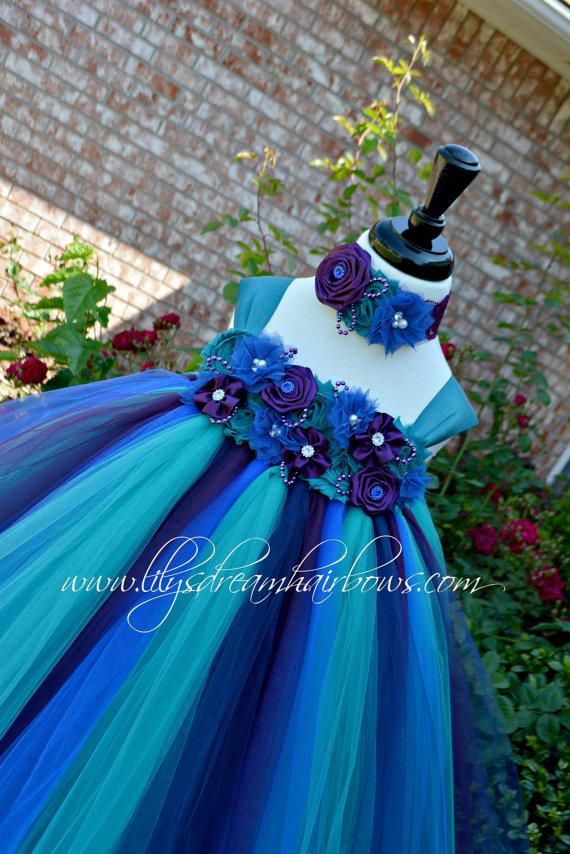 22c04d5a0468 teal tutu dress. peacock color tutu dress, teal, purple and blue tutu dress,  peacock inspired tutu dress, peacock flower girl dress