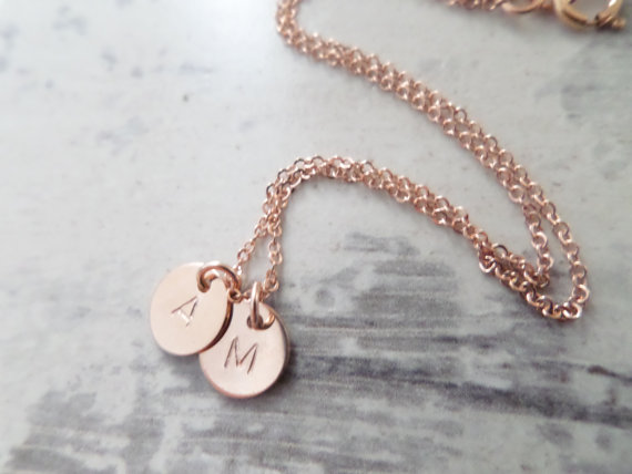 2 Tiny Rose Gold Disks With Initial NecklaceHand Stamped