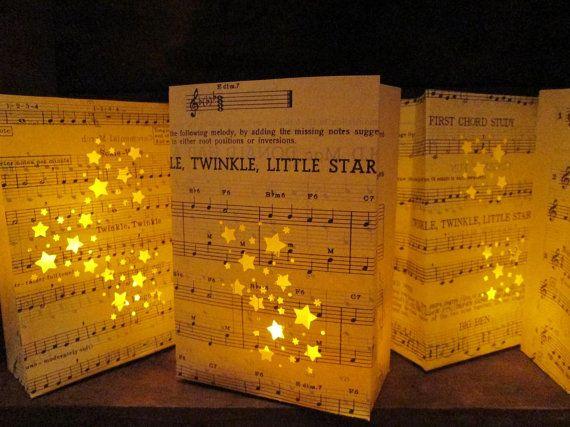 Twinkle Twinkle Little Star Luminary Bags Vintage Sheet Music