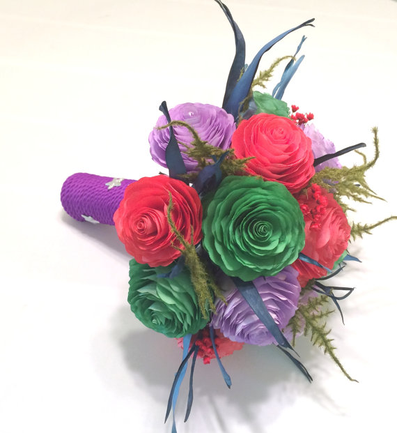 Boda - Red, green and purple Mermaid themed bridal bouquet, Disney inspired wedding bouquet using handmade paper Peonies and dried flowers