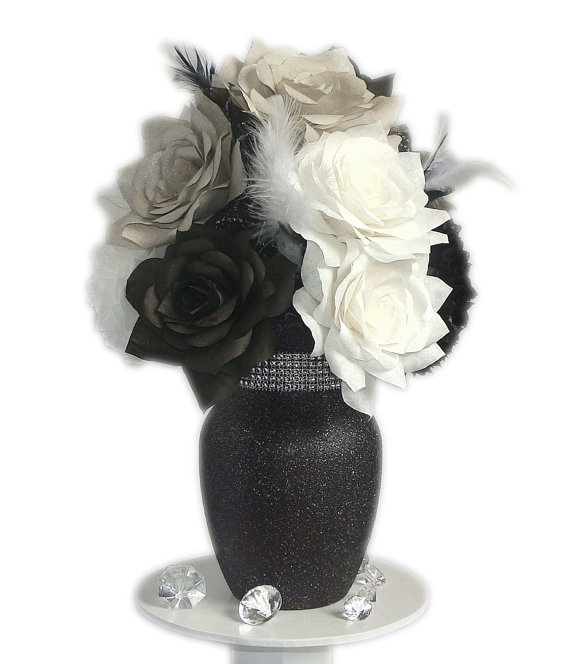 Black and white centerpiece black white wedding decor fake flower decor home decor bridal shower decor silk flowers paper flowers