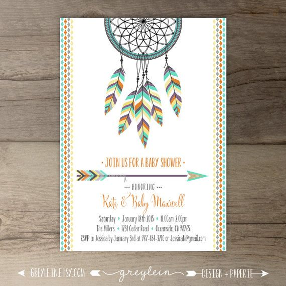 Hochzeit - Dreamcatcher Baby Shower Invitations • Birthday • Bridal Shower Shower • Arrows Feathers Tribal Native • DIY Printable