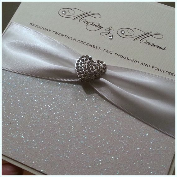 Handmade Luxury Glitter Wedding Invitation The Glitzy Crystal Pocketfold Sample Any Ribbon Colour
