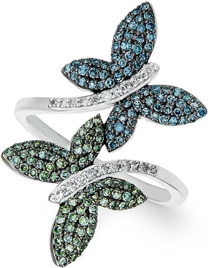eb9ba8ef2 Wrapped in Love™ Multicolor Diamond Butterfly Ring in 14K White Gold (3/4  ct. t.w.)