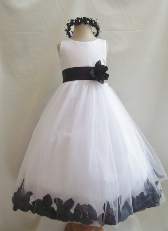 Flower girl dresses white with black rose petal dress fd0pt flower girl dresses white with black rose petal dress fd0pt wedding easter bridesmaid for baby children toddler teen girls mightylinksfo