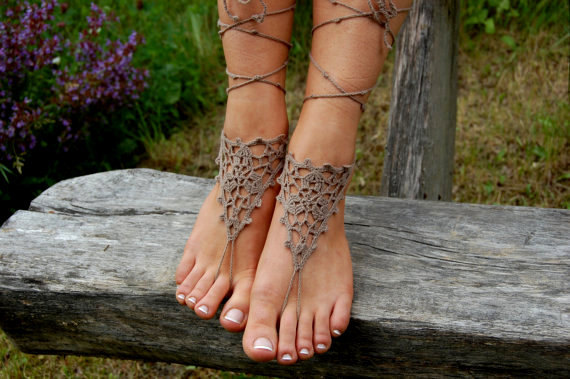Hochzeit - Crochet Barefoot Sandals, Bridal shoes, Beach Shoes, Wedding Accessories, Nude Shoes, Yoga socks, Foot Jewelry