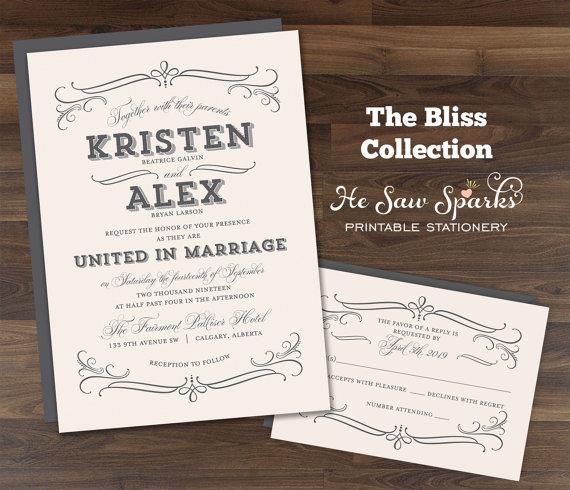 زفاف - Printable Wedding Invitation - Bliss