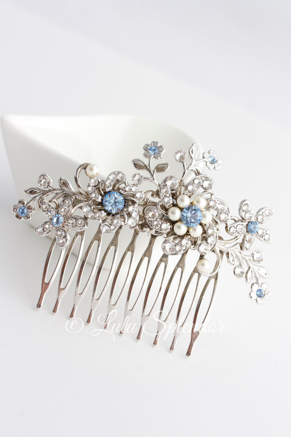 Mariage - Wedding Hair Comb Light Sapphire Blue Bridal Hair Accessories Something Blue Flower Wedding Comb  SABINE Choose your Blue