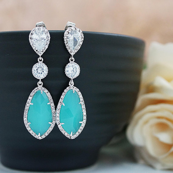 Mariage - Wedding Jewelry Bridesmaids Gift Bridal Earrings Bridesmaid Earrings Dangle Earrings LUX Mint Opal with cubic zirconia drop Earrings