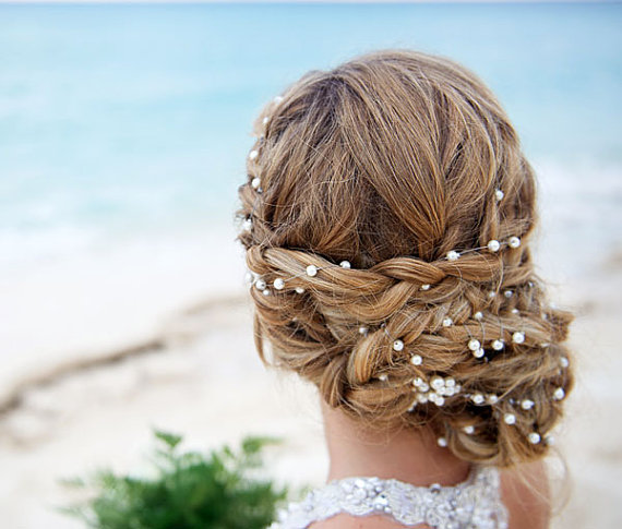 Wedding - Wedding Pearl Head Chain, Bridal Headband, Pearl Headband, Wedding Hair Accessories, Bridal Hair Accessories