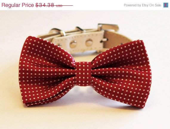 Mariage - Red Dog Bow tie, Cute Dog Bowtie with high quality leather collar, Dog Wedding accessories, Pet Birthday Accessory, Red Lovers