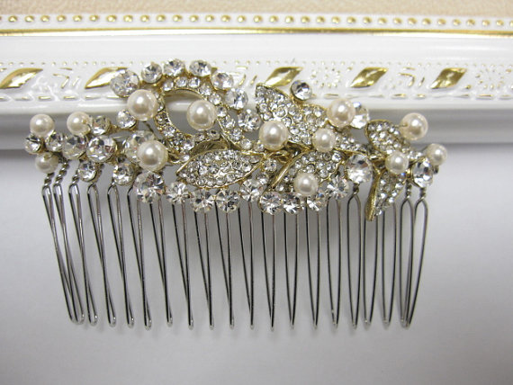 Wedding - Gold bridal hair comb Gold wedding headpiece Gold bridal hair jewelry pearl hair comb wedding hair jewelry Gold wedding hair comb bridal