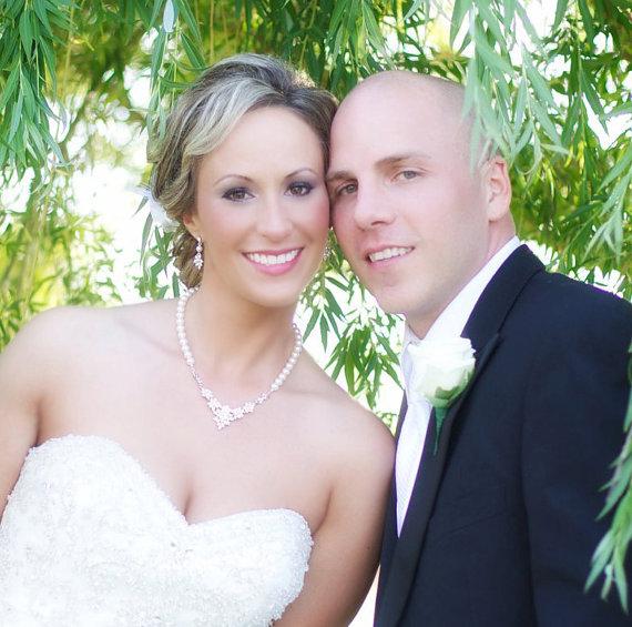 زفاف - Bridal Jewelry SET Wedding Necklace Bridal Earrings Swarovski Crystal pendant and Swarovski Pearls, Rhinestone, Wedding, Brooke Set