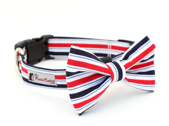 Свадьба - Red White Blue Striped Dog Collar - Patriotic Stripes (Matching Bow Tie Available Separately for Wedding & Special Occasion)