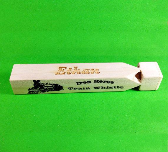 Ring Bearer Gift, Train Whistle, Custom Personalized Engraved Wooden Train Whistle Toy, Christmas Gift, Ring Bearer, Birthday, Keepsake