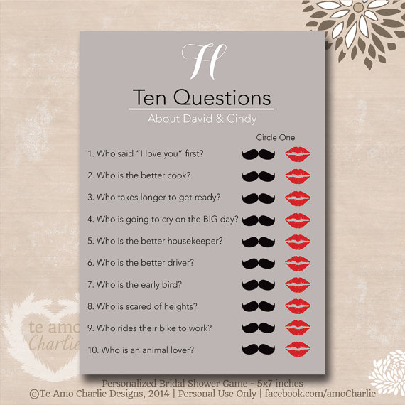 ten questions bridal shower game personalized wedding shower game