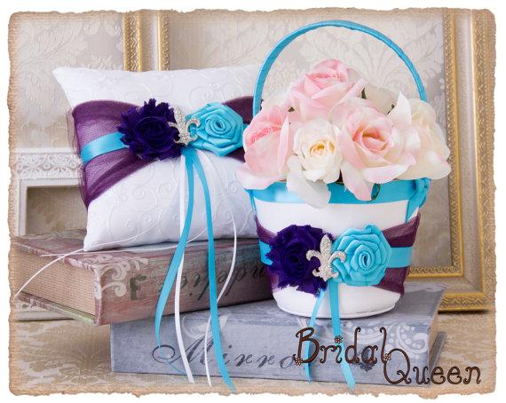 زفاف - Peacock  Flower Girl Basket,Purple Turquoise Wedding Ring Bearer Pillow, Wedding Pillow, Wedding Pillow, Flower Girl Basket, Ring Pillow