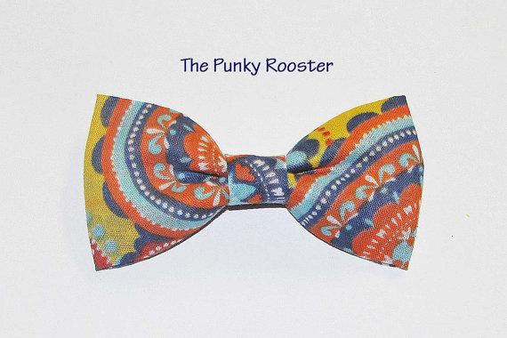 زفاف - Bright Floral Bow Tie, Clip on Bow Tie, Boys Bow Tie, Toddler Bow Tie