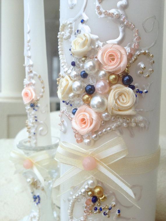 زفاف - Wedding unity candle set in ivory, blush, gold and navy, perfect for your Unity Ceremony or as a gift idea