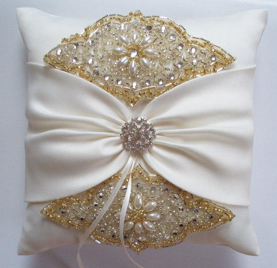 Hochzeit - Wedding Ring Pillow with Rhinestone Detail, Ivory Satin Sash Cinched by Crystals - The ANGELINA Pillow