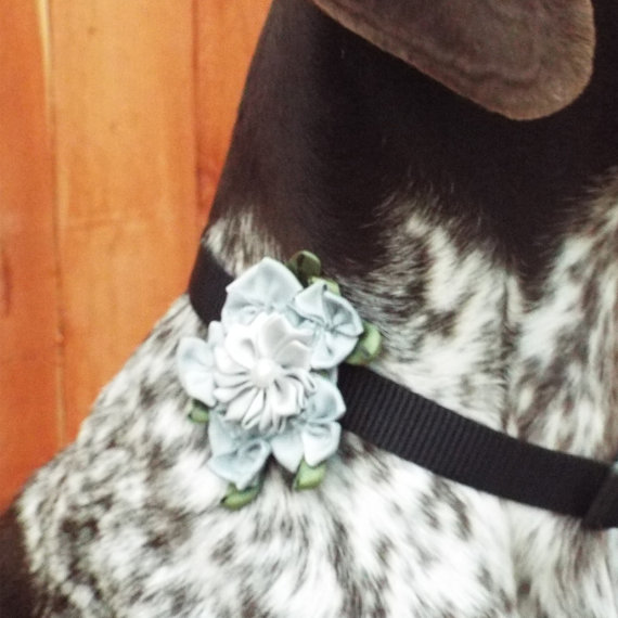 Свадьба - Silver Gray Flower Dog Collar Accessory for Cats and Dogs - Great Wedding Accessory for your pet!