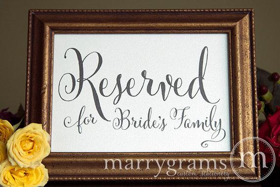 زفاف - Reserved for Bride and Groom's Family Sign Table Cards- Wedding Reception, Ceremony Seating Signage (Set of 2) Matching Table Numbers -SS07