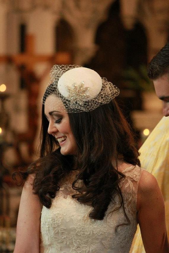 Bridal Hat - Ivory Blusher Veil - Crystal Veil - Silver Wedding Hat - White  Birdcage Veil - Bridal Accessory - Mother of the Bride Hat 2380f9ea7bb