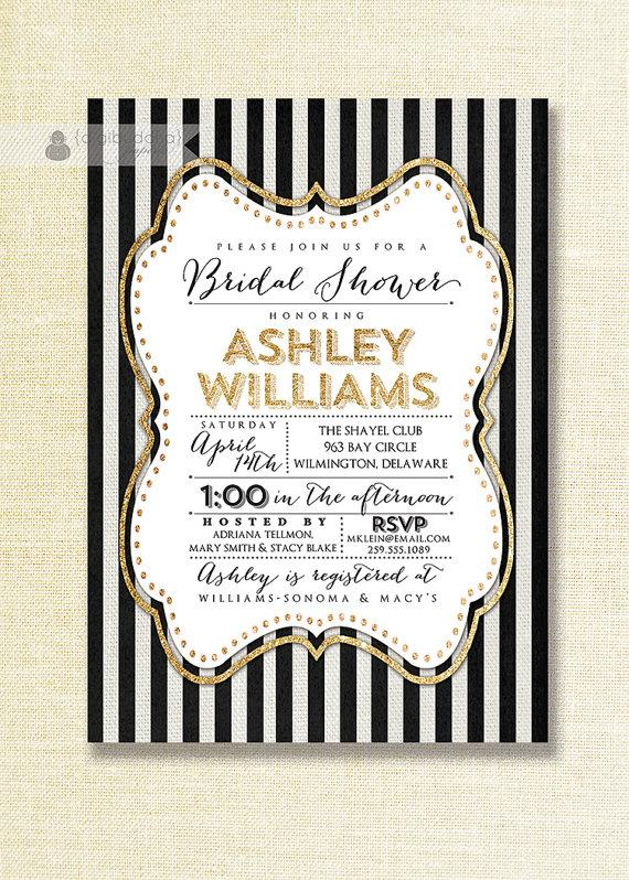 Gold Black White Bridal Shower Invitation Glitter Sparkly Striped Linen Shabby Chic Free Priority Shipping Or Diy Printable Ashley