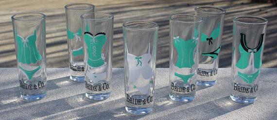 Hochzeit - Lingerie Bachelorette Shot Glass Set - Great Bridesmaid Gift - Set of 6