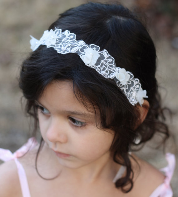 Wedding - Flower Girl Headband Wedding Bridal Headband Child Headband Baby Girl Christening