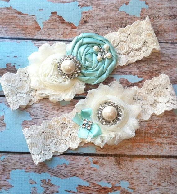 Wedding - AQUA  wedding garter set / bridal  garter/  lace garter / toss garter included /  wedding garter / vintage inspired lace garter