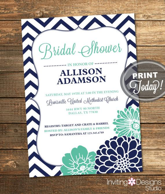 Bridal Shower Invitation, Chevron, Floral, Mint Green, Mint, Aqua, Navy, Navy Blue, Vertical ...