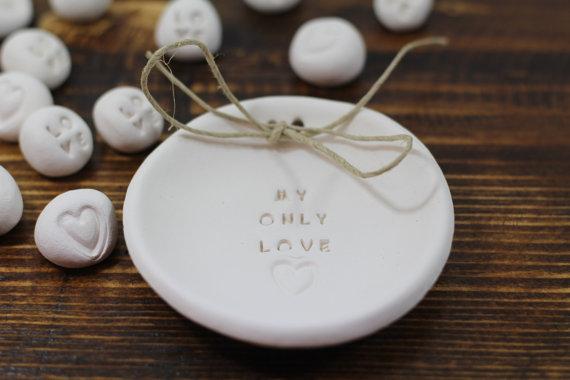 زفاف - Anniversary gift My only love Ring dish Wedding ring dish - Ring bearer Wedding Ring pillow 1st anniversary gift