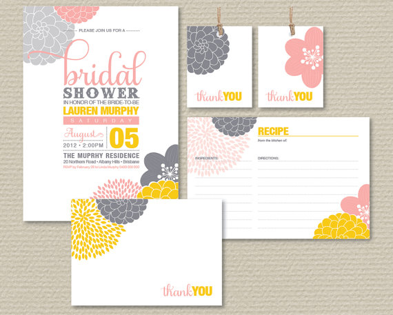 printable bridal shower invitation party pack modern flower design yellow pink grey pp03