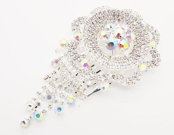 Wedding - Vintage Style Encrusted Silver Diamante Crystal Gem Hanging Drop Hair Comb Fascinator Hair Grip Slide Bridal Wedding Party Bridesmaids