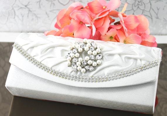 Mariage - Wedding Clutch, Wedding Purse, Bridal Clutch, Bridal Purse Satin White Clutch Purse, Bridal Accessories Style-25