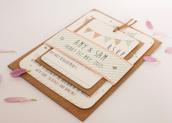 Mariage - Bunting wedding invitation bundle - bunting gem bundle