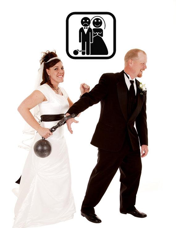 زفاف - Bride and Groom, Ball and Chain - Decal, Sticker, Vinyl, Wall, Home, Newly Weds Decor