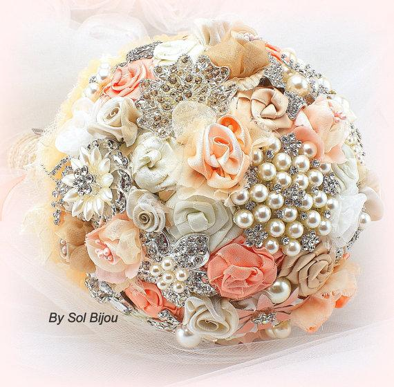 Mariage - Brooch Bouquet,  Bridal Bouquet, Fabric Bouquet in Coral, Peach, Ivory, Tan, Beige and Champagne with Burlap and Lace