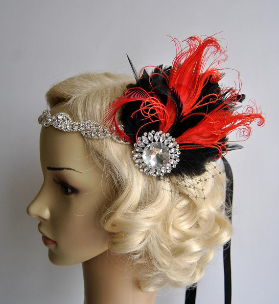 Mariage - Splendor red and black 1920s Rhinestone headband,Bridal Feather Fascinator,beaded Headband,1920 Headpiece Bridal fascinator headband Wedding