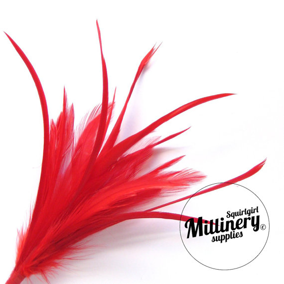 Hochzeit - Goose Biot & Hackle Feather Hat Mount Trim for Fascinators, Wedding Bouquets and Hat Making Red