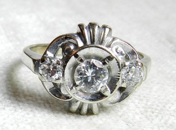 زفاف - Diamond Engagement Ring 1 Ct tdw 14K White Gold, Old Transitional Cut & Round Cut Brilliant