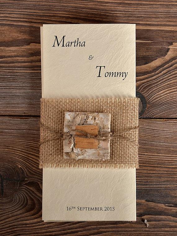 Mariage - Custom listing (100) Birch Bark Burlap Wedding Invitation, Country Style Wedding Invitations,  Rustic Invitation Card