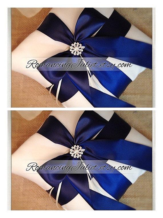 Mariage - Romantic Satin Elite Ring Bearer Pillow...You Choose the Colors...SET OF 2...shown in ivory/navy blue