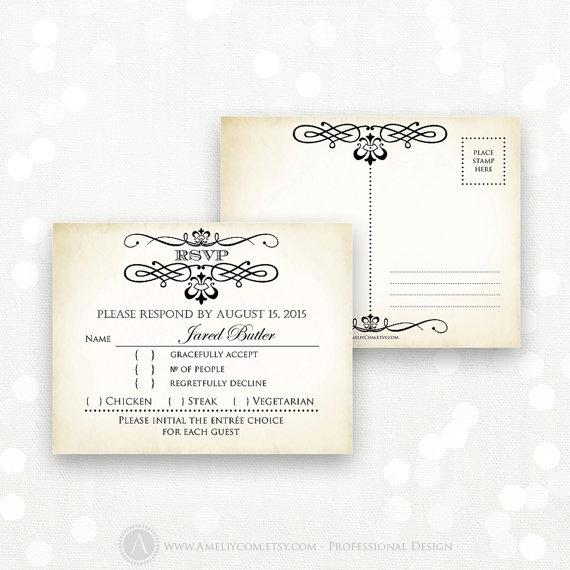 زفاف - Printable RSVP Card EDITABLE Instant Download Digital DIY, Vintage Reply Card, Response Cards for Wedding, Birthday, Shower + Back PostCard