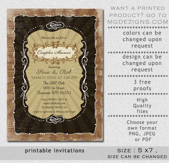 Mariage - Printable Vintage Rustic Shabby Chic Couples Wedding Shower Invitation Templates